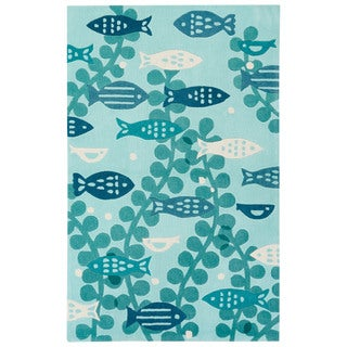 Youth Coastal Pattern Blue Polyester Area Rug (4x6)