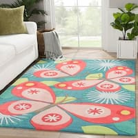 Meadow Handmade Animal Blue/ Pink Area Rug (3' X 5')