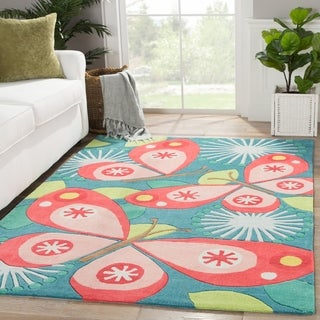 Petit Collage Youth Floral & Leaves Pattern Blue/Pink Polyester Area Rug (4x6)