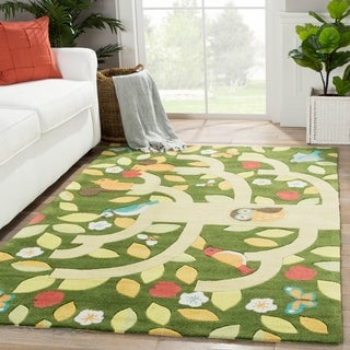 Youth Floral & Leaves Pattern Green/Yellow Polyester Area Rug (4x6)
