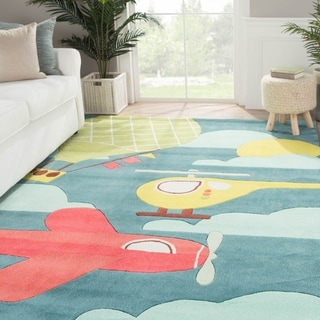 Petit Collage Youth Toy Pattern Blue/Yellow Polyester Area Rug (4x6)