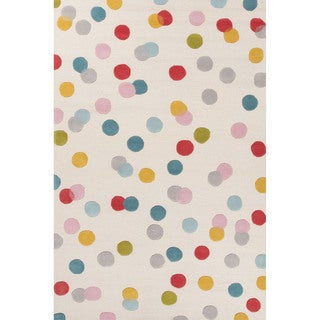 Petit Collage Youth Dots Pattern Ivory/Blue Wool Area Rug (4x6)