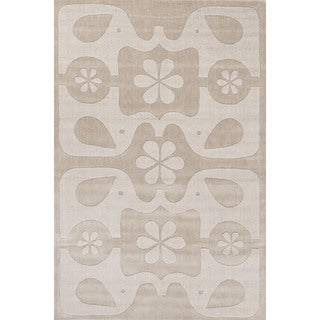 Petit Collage Youth Animal Pattern Gray Wool Area Rug (4x6)