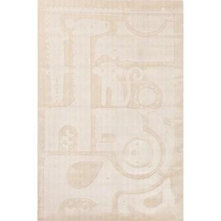 Petit Collage Youth Animal Pattern Ivory/White Wool Area Rug (4x6)
