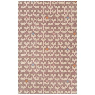 Petit Collage Youth Floral & Leaves Pattern Purple/Ivory Wool Area Rug (4x6)