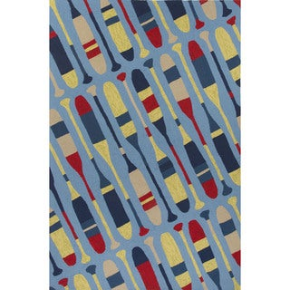 Indoor/Outdoor Coastal Pattern Blue/Yellow Polypropylene Area Rug (5x7.6)