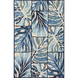 Indoor/Outdoor Floral & Leaves Pattern Blue/Ivory Polypropylene Area Rug (5x7.6)