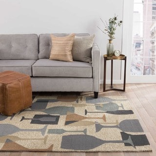 Indoor/Outdoor Abstract Pattern Natural/Gray Polypropylene Area Rug (5x7.6)