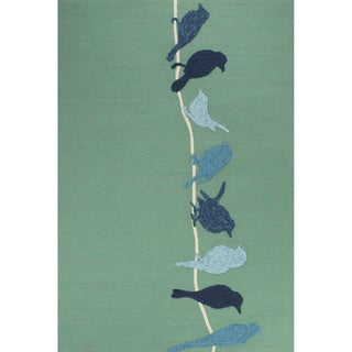 Indoor/Outdoor Abstract Pattern Green/Blue Polypropylene Area Rug (5x7.6)