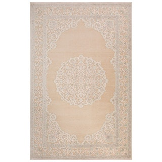 Classic Medallion Pattern Ivory/Beige Rayon Chenille Area Rug (5x7.6)