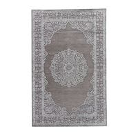 Maison Rouge Hughes Medallion Grey/ Silver Area Rug (5' x 7'6)