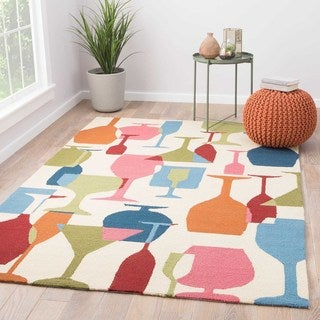 Indoor/Outdoor Abstract Pattern Ivory/Blue Polypropylene Area Rug (5x7.6)