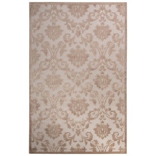 Contemporary Damask Pattern Ivory/Beige Rayon Chenille Area Rug (5x7.6)