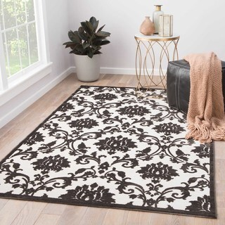 Contemporary Damask Pattern Ivory/Black Rayon Chenille Area Rug (5x7.6)