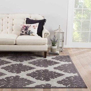 Contemporary Damask Pattern Gray Rayon Chenille Area Rug (5x7.6)