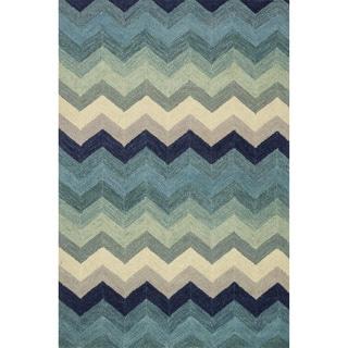 Hand-hooked Tessa Multi/ Blue Wool Rug (5'0 x 7'6)