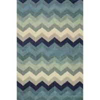 Hand-hooked Tessa Multi/ Blue Wool Rug - 5' x 7'6