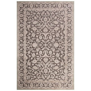 Contemporary Oriental Pattern Gray Rayon Chenille Area Rug (5x7.6)
