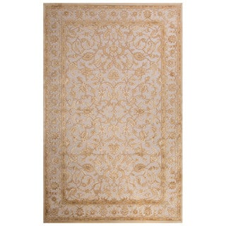 Contemporary Oriental Pattern Ivory/Beige Rayon Chenille Area Rug (5x7.6)