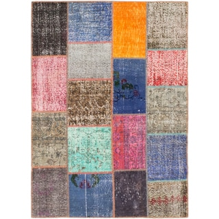 ecarpetgallery Color Transition Patch Blue/ Pink Wool Rug (5'5 x 7'7)