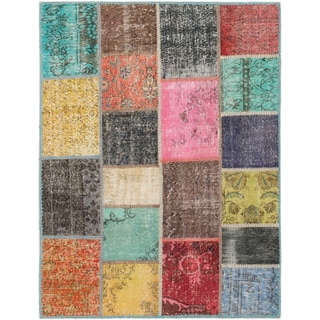 ecarpetgallery Color Transition Patch Green/ Pink Wool Rug (4'11 x 6'7)