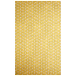 Petit Collage Flatweave Tribal Pattern Yellow/Ivory Cotton Area Rug (5x8)