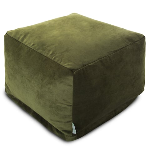 Majestic Home Goods Indoor Villa Velvet Ottoman Pouf 27 in L x 27 in W x 17 in H