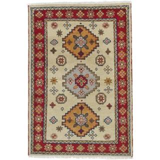 ecarpetgallery Oriental Kazak Yellow Wool Rug (4'2 x 6'0)