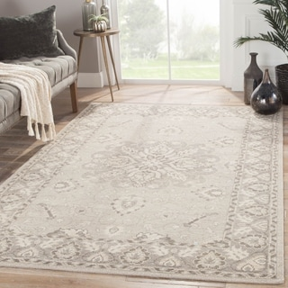 Hand-Knotted Medallion White Area Rug (5' X 8')