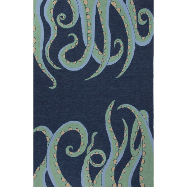 Indoor Outdoor Coastal Pattern Blue Green Polypropylene