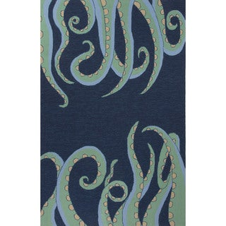 Indoor/Outdoor Coastal Pattern Blue/Green Polypropylene Area Rug (7.6x9.6)
