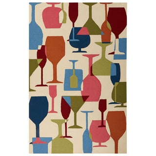 Indoor/Outdoor Abstract Pattern Ivory/Blue Polypropylene Area Rug (7.6x9.6)