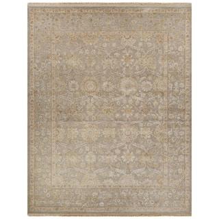 Luxury Oriental Pattern Gray/Ivory Wool and Silk Area Rug (6x9)