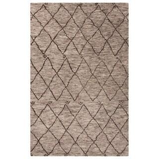 Konya Hand-Knotted Trellis Gray/ Brown Area Rug (5' X 8') - 5' x 8'
