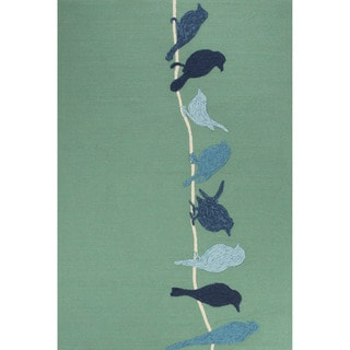 Indoor/Outdoor Abstract Pattern Green/Blue Polypropylene Area Rug (7.6x9.6)