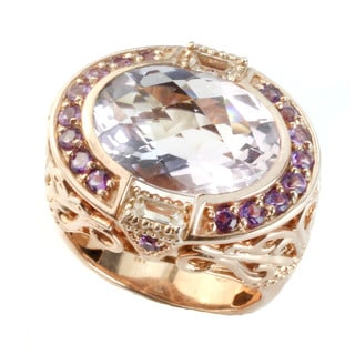 One-of-a-kind Dallas Prince Silver Pink Amethyst, Ametrine & White Topaz Ring