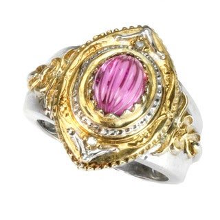 One-of-a-kind Michael Valitutti Fluted Pink Tourmaline & Diamond Ring