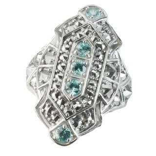 One-of-a-kind Dallas Prince Silver Blue Zircon & Marcasite Ring