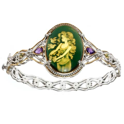 One-of-a-kind Michael Valitutti Carved Amber, Amethyst & Chrome Diopside Bracelet