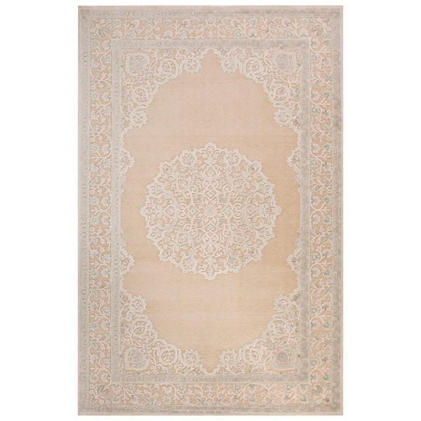 Medallion white area rug 9 39 x 12 39 free shipping today 18051968 - Cozy white shag rug for the comfortable steps sensation ...