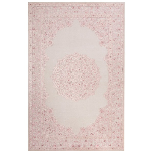 Everyly Medallion Pink White Area Rug 7 6 Quot X 9 6