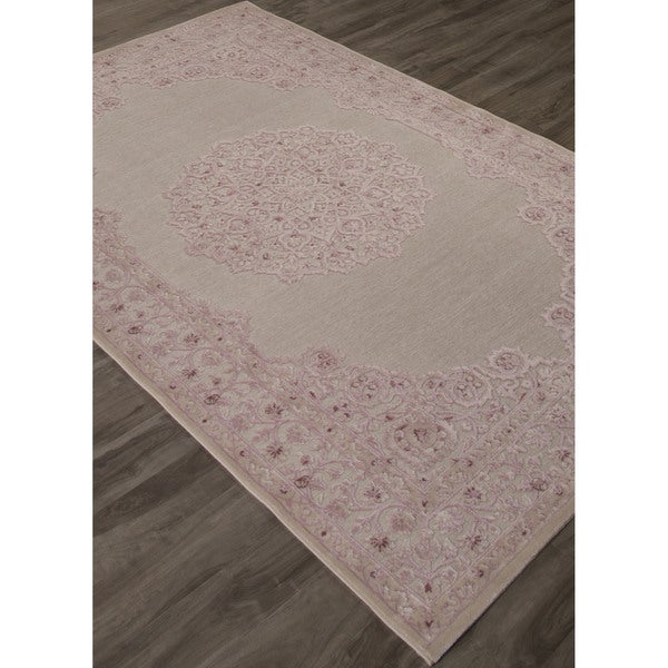 """Everyly Medallion Pink/ White Area Rug (7'6"""" X 9'6"""