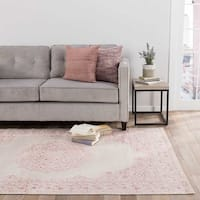 Maison Rouge Edith Medallion Pink/White Area Rug - 9' x 12'
