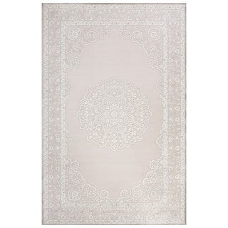 Classic Medallion Pattern Ivory/Gray Rayon Chenille Area Rug (7.6x9.6)