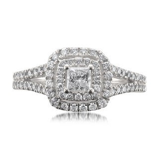 Montebello 14k White Gold 1ct TDW Certified White Diamond Princess-cut Halo Engagement Ring (H-I, I1)