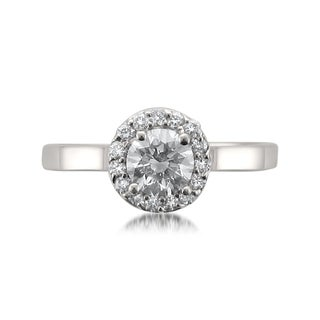 Montebello 18k White Gold 3/4ct TDW Certified White Diamond Halo Engagement Ring
