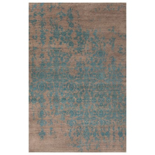 "Hand-Knotted Abstract Blue Area Rug (9'6"" X 13'6"")"