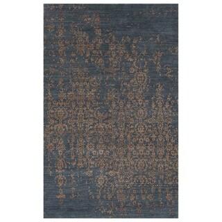 Luxury Abstract Pattern Dark Gray Wool Area Rug (9.6x13.6)