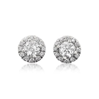 Montebello 14k Gold 1ct TDW Certified Round-cut White Diamond Halo Stud Earrings (H-I, I1)