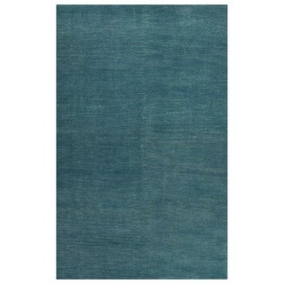 Solids Solids & Heather Pattern Blue Wool and Cotton Area Rug (8x10)
